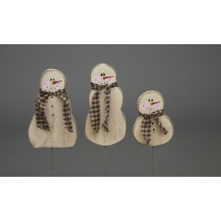 Primitive Rustic Christmas Decoration - Set of 3 Wooden Christmas Snowman on Stick