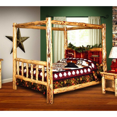 RUSTIC RED CEDAR LOG BED - KING SIZE CANOPY BED