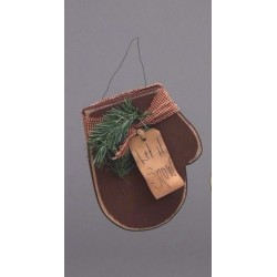 Primitive Rustic Christmas Decoration - Adorable Wooden Hanging Mitten Decoration