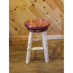 Red Cedar Log bar stool with swivel seat