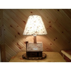 Pine Log Cabin Lamp