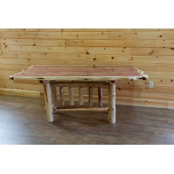 """Red Cedar Log Live/Natural Edge Trestle Dining Table - 36"""" x 60"""""""