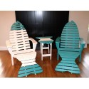 Set of 2 Poly Fish Adirondack Chairs with 2 Fish Tail Ottomans and 1 Fish Side Table