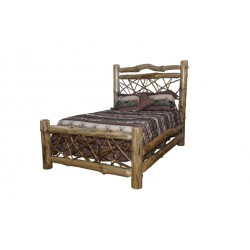 Rustic Pine Log Twig-Style Bed (4 Size Options)