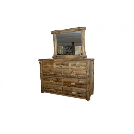 Rustic Pine Half Log 6 or 9 Drawer Dresser *with Optional Mirror Frame*