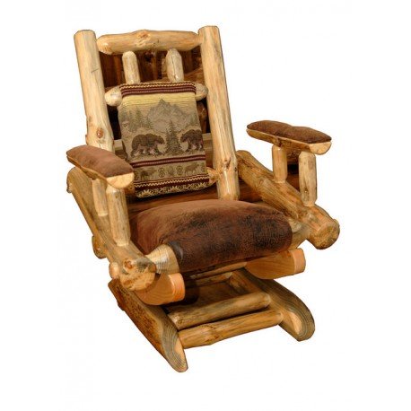 Rustic Pine Log Rocking Chair on Platform *Available in 6 Upholstery Options