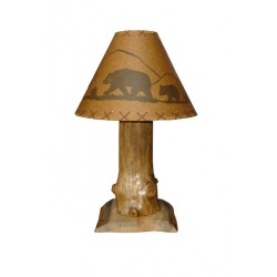 Rustic Pine Log Table Lamp