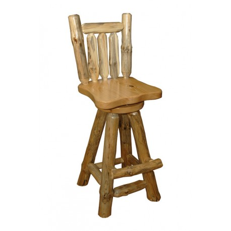 Rustic Pine Log Swivel Pub Chair *2 SIZES AVAILABLE*