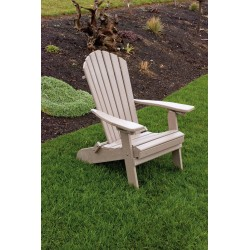 Polywood Folding Adirondack Chair - Weathered Wood