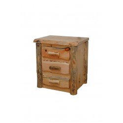 Rustic Pine Natural Live Edge Slab Nightstand/End Table - 3 Drawers