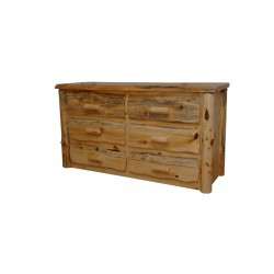 Rustic Pine Natural Live Edge Slab 6-Drawer Dresser