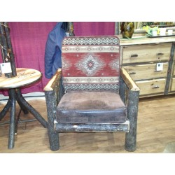 Rustic Hickory Upholstered Living Room Chair - Colorado Fabric