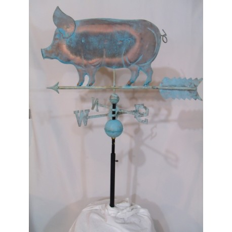 Outdoor Copper Pig Weathervane - Patina Finish