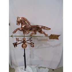 Outdoor Large Copper Horse Weathervane - Polished Finish