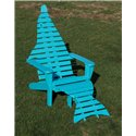 Set of 2 Poly Outdoor Dolphin Adirondack Chairs, 2 Dolphin Tail Ottomans & 1 Dolphin Side/End Table