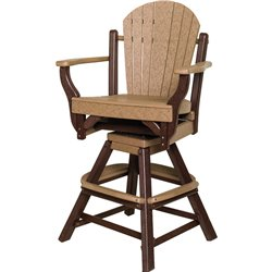 "Poly Lumber Patio Set with 44"" Round Pub Table & 3 Fanback Swivel Arm Chairs- 18 Standard Colors"