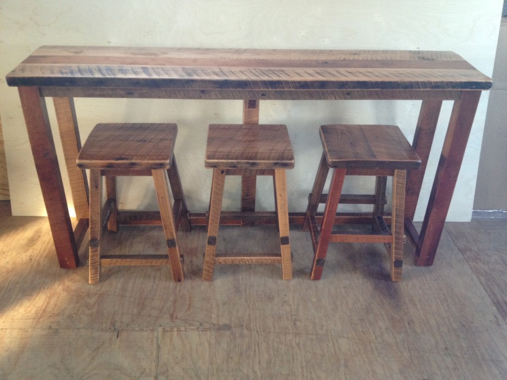 rustic reclaimed barn wood kitchen bar sofa table bar height