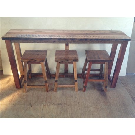 Rustic Natural Reclaimed Barn Wood Kitchen Bar Breakfast Sofa Table Set Counter