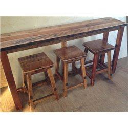 Rustic Natural Reclaimed Barn Wood Kitchen Bar/Breakfast Bar/Sofa Table SET - Counter Height