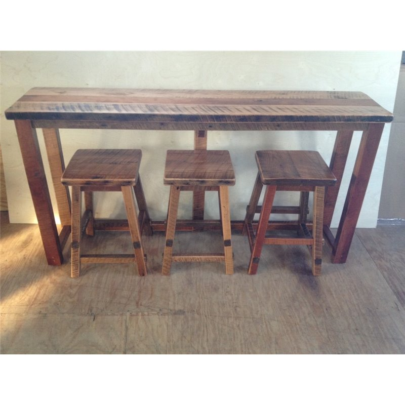 Rustic Natural Reclaimed Barn Wood Bar with Stools - Clear Coat ...  sc 1 st  Furniture Barn USA & Reclaimed Barn Wood Breakfast Bar Set - Bar Height