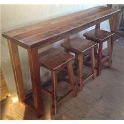 Rustic Natural Reclaimed Barn Wood Bar with Stools - Clear Coat