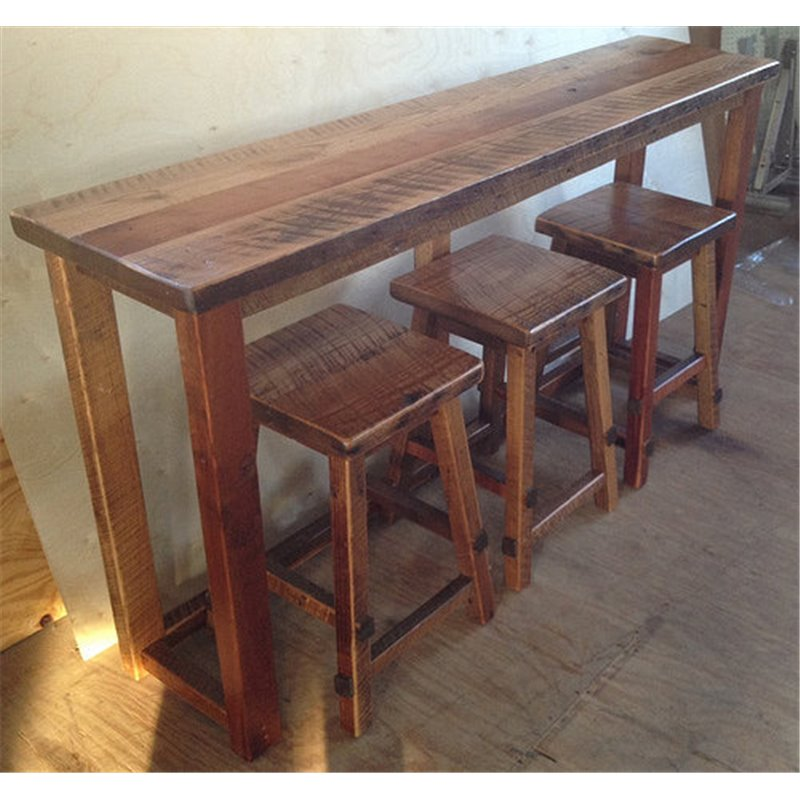 Reclaimed barn wood breakfast bar set bar height rustic natural reclaimed barn wood bar with stools clear coat watchthetrailerfo