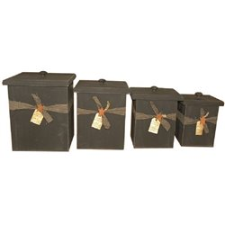 Rustic Primitive 4 Piece Canister Set