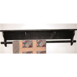 Rustic Primitive Shelf with Quilt Rack and Hooks