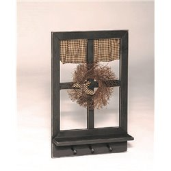 Rustic Primitive Decorative Window with Star Cut Out Shutters