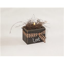 Primitive Decorative Rustic Candle in Box Centerpiece