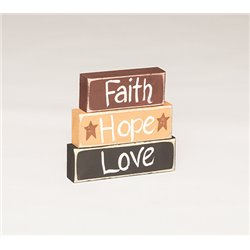 Primitive Decorative Country Chunky Block Signs - Faith - Hope - Love