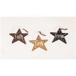 Set of 3 Rustic Primitive Hanging Star Cut Outs - Faith - Family - Friends