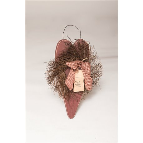 Primitive Rustic Decorative Large Hanging Heart with Wreath