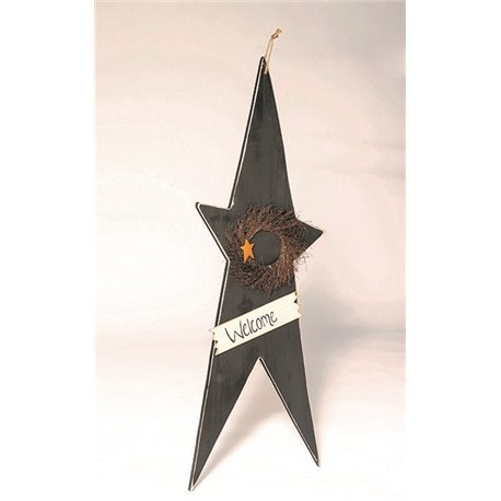 "Primitive Rustic Decorative 52"" Hanging Star with Wreath and Welcome Sign"