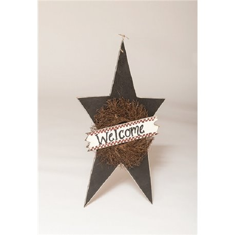 Primitive Rustic Decorative X- Large Hanging Star with Wreath and Welcome Sign