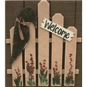 Primitive Decorative Rustic Garden Welcome Fence with Primitive Crow