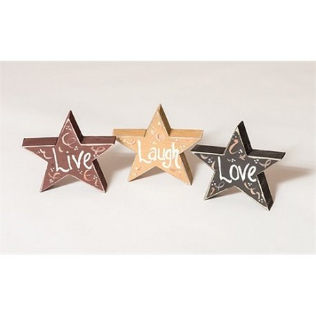 Primitive Decorative Country Chunky Rustic Star Cut Outs - Live - Laugh - Love