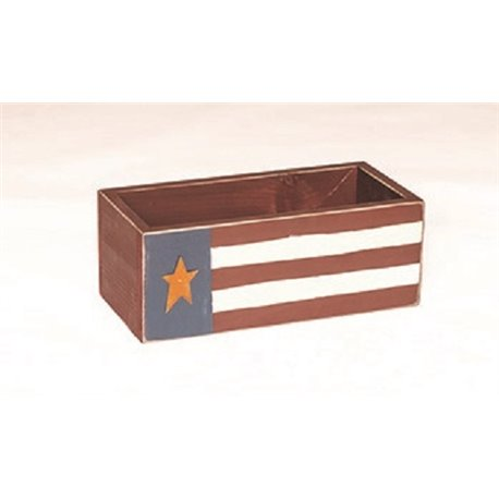 Primitive Decorative Red, White, & Blue American Flag Storage Box