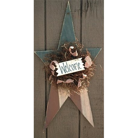 Primitive Rustic Patriotic American Flag Banner Painted Star Hanging Star in Red, White, & Blue