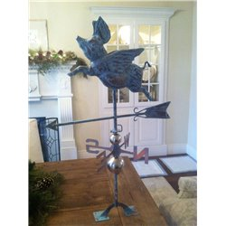 Oversized Outdoor Copper Full Body 3D FLYING GOOSE Weathervane - Patina Finish