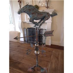 Oversized Outdoor Copper Full Body 3D RACING HORSE Weathervane - Patina Finish