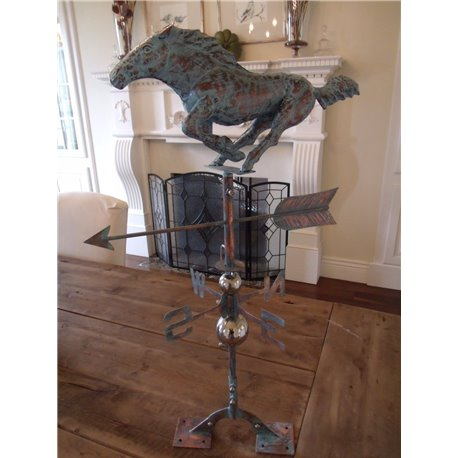Oversized Outdoor Copper Full Body 3D HUNTING DOG Weathervane - Patina Finish
