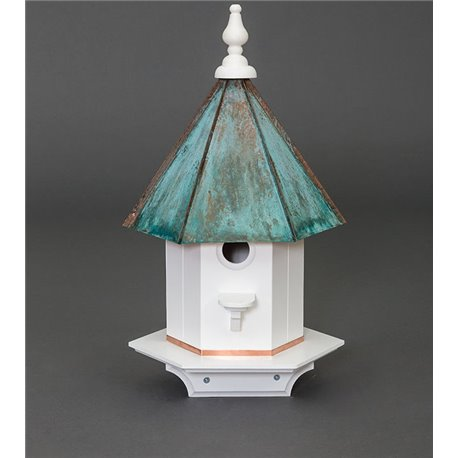 1 Hole Vinyl Bird House with Copper Patina - 24 inches TALL
