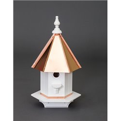 Single Hole Vinyl Bird House with Polished Copper Top - 24 inches TALL