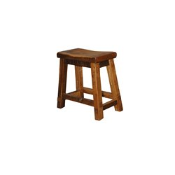 "Rustic Natural Reclaimed Barn Wood Saddle Stool - 24"" in Urban Distress Stain"