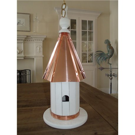 Double Sided 2 Hole Bird House with Polished Copper Roof - 20 inches Tall