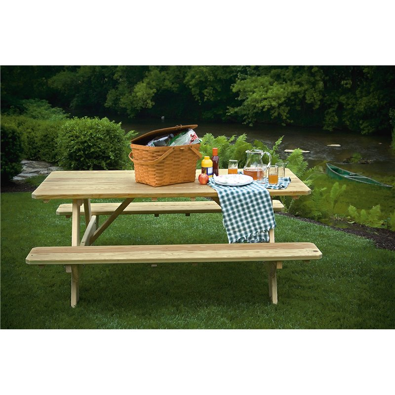 Beau 6 Foot Picnic Table With Attached Benches   Unfinished, Painted, Or Stained