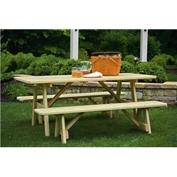 6 Foot Picnic Table with 2 Traditional Detached Benches - Unfinished, Painted, or Stained