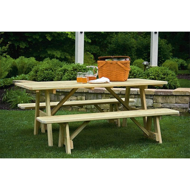 Foot Picnic Table With Detached Benches - Picnic table with removable benches