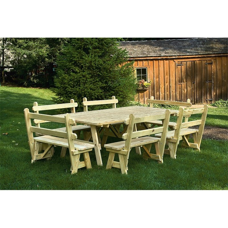 Extra Wide 6 Foot Picnic Table With 2 Traditional Detached Benches    Unfinished, Painted,
